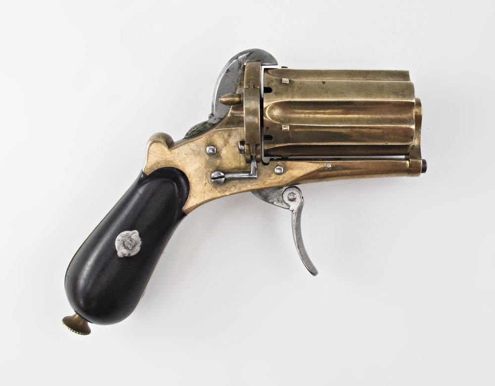 208: 19TH CENTURY BELGIAN PINFIRE PEPPERBOX PISTOL