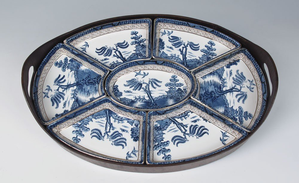 373: BOOTHS REAL OLD WILLOW CHINA RELISH TRAY