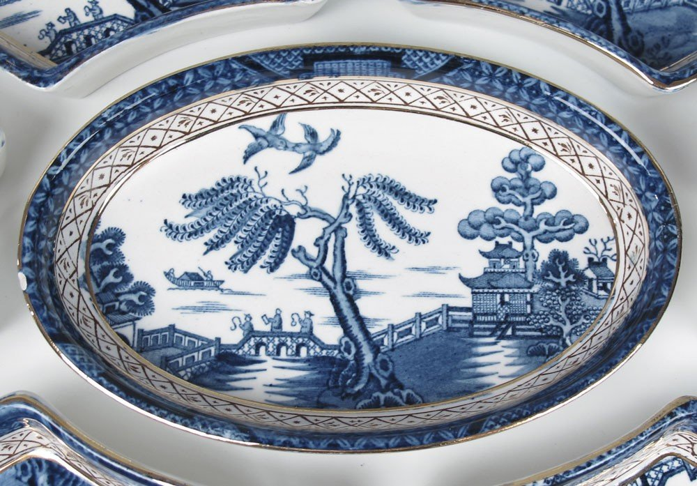 373: BOOTHS REAL OLD WILLOW CHINA RELISH TRAY - 2