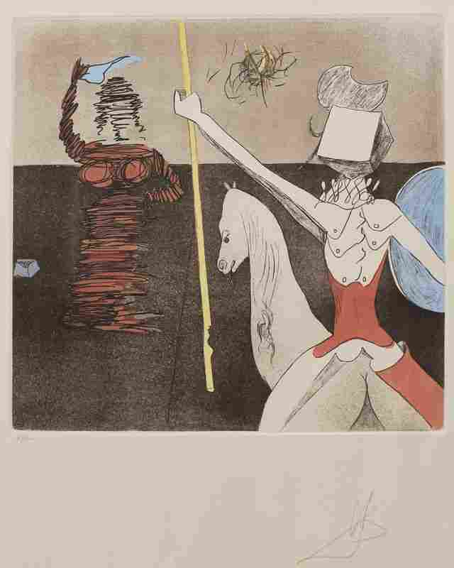 160: SALVADOR DALI OFF TO BATTLE ETCHING