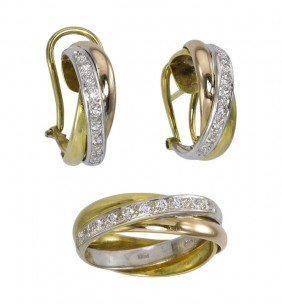 16: 18K DIAMOND GOLD BAND AND EARRINGS