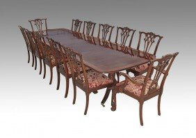 11: BANDED MAHOGANY TABLE 12 CHIPPENDALE STYLE CHAIRS