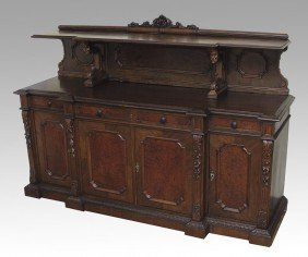 8: FRENCH WALNUT CARVED SIDEBOARD
