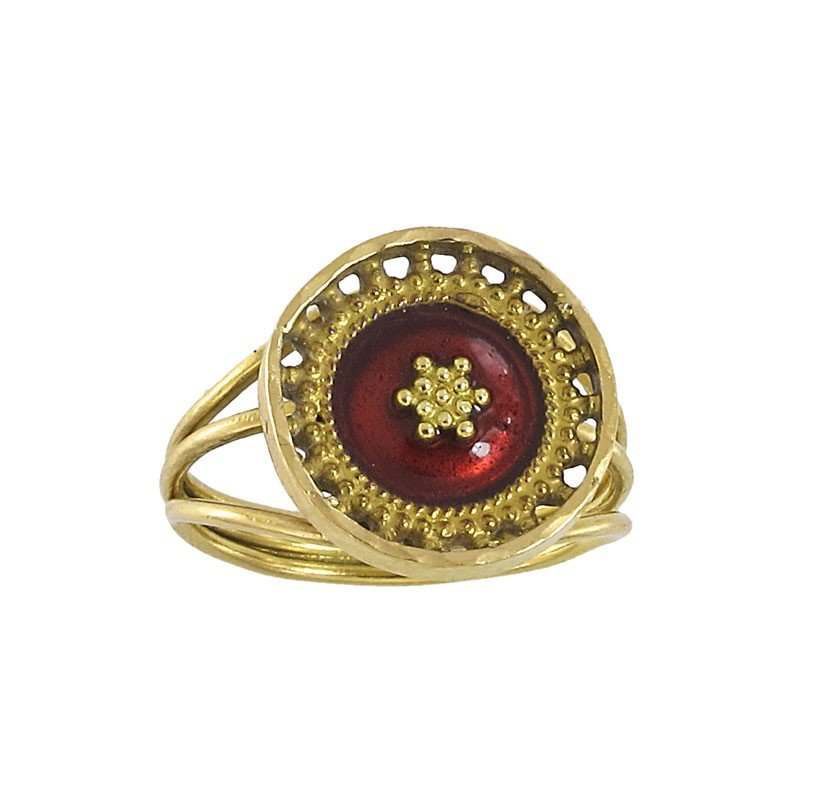 73A: 22K GOLD RED ENAMEL RING 4.2 GR  SIZE 5.5