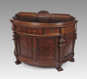 CARVED AND INLAID FRENCH COMMODE
