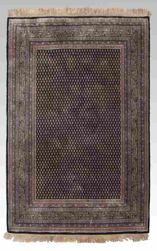 """MODERN INDO-PERSIAN HAND KNOTTED WOOL RUG, 4' 10"""""""
