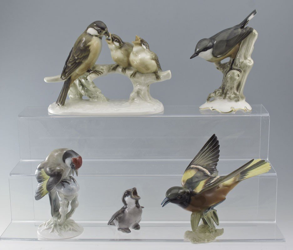491: 5 PORCELAIN BIRD FIGURINES HUTSCHENREUTHER & MORE