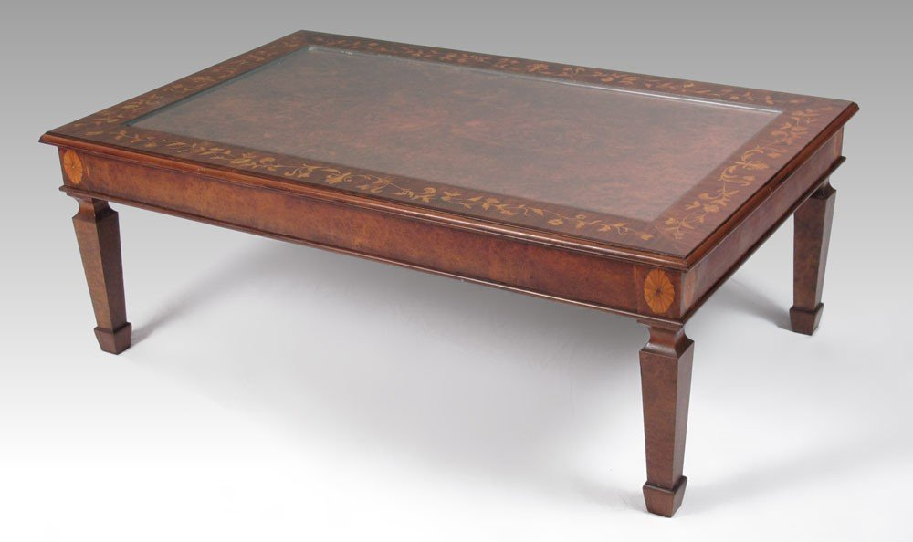 79B: FRENCH INLAID COFFEE TABLE WITH GLASS TOP