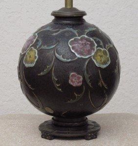 5: DAVART NY ROSEVILLE POTTERY FLORAL LAMP