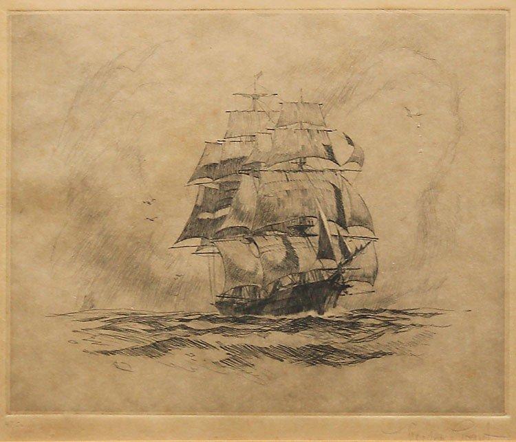 13: GORDON GRANT CLIPPER SHIP ETCHING