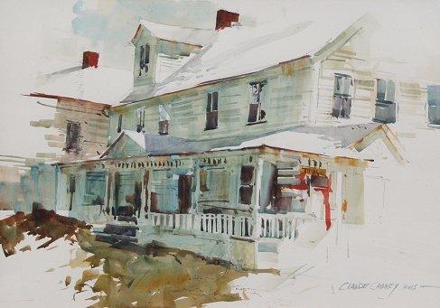 Connecticut watercolor artists directory - 140 Claude Croney Street Scene Watercolor