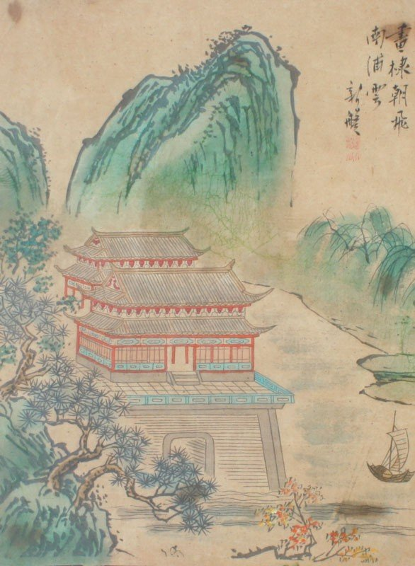 333: CHINESE WATERCOLOR PAINTING ON CANVAS