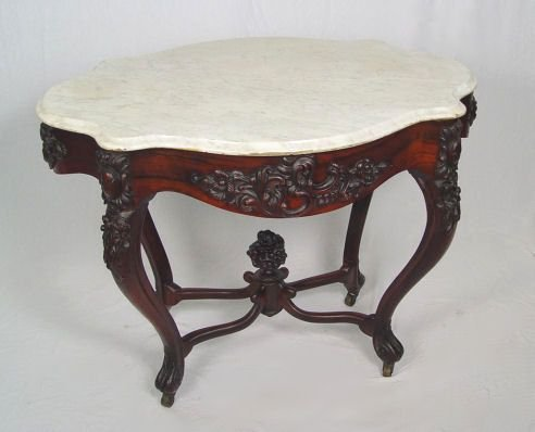 1002: BELTER ROSEWOOD MARBLE TOP VICTORIAN TABLE