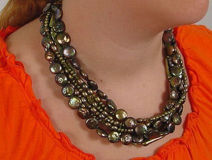 1017: ANNA HARTZOG NECKLACE COIN PEARLS & CRYSTAL 19''