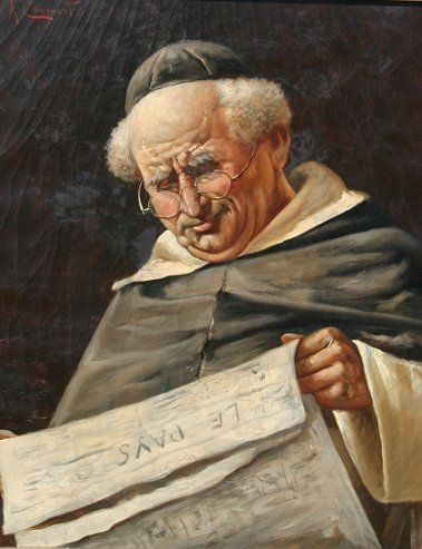 1024: A. CHAMART MONK FRIAR OLD PAINTING