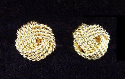 1034: TIFFANY & CO 18K GOLD POST EARRINGS TEXTURED KNOT