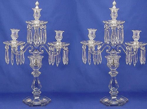 1074: PR HEISEY CRYSTAL OLD WILLIAMSBURG CANDELABRA