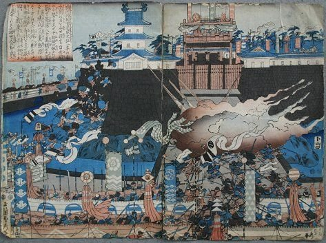 1087: JAPANESE WOODBLOCK DIPTYCH PRINT 19TH CENTURY