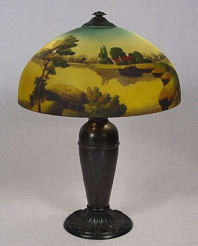1088: 1920s PHOENIX GLASS REVERSE PAINTED LAMP