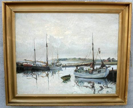 1090: JENS CHRISTENSEN HARBOR SCENE PAINTING