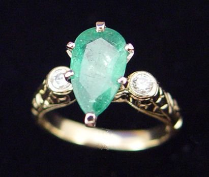 1093: 1.8ct EMERALD & DIAMOND RING 14K sz 7 4.8 GRAMS