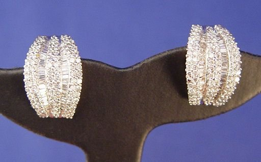 1094: 5ctw DIAMOND EARRINGS 14K OMEGA POST 12 GRAMS