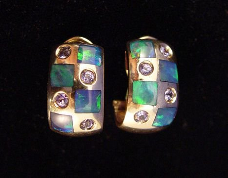 1096: 14k BLACK OPAL & TANZANITE EARRINGS 10.7GRAMS