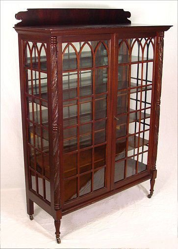 1097: FEDERAL STYLE MAHOGANY CARVED CHINA CABINET