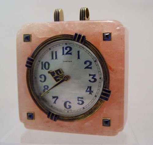1132: CARTIER ROSE QUARTZ TRAVEL CLOCK CIRCA 1929