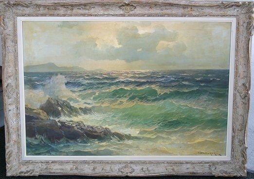 1289: ALEXANDER DZIGURSKI SEASCAPE PAINTING