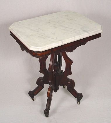 1014: VICTORIAN MARBLE TOP LAMP TABLE