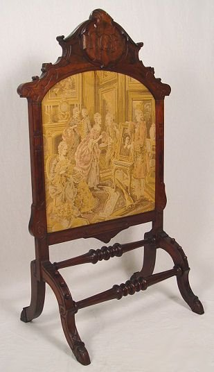 1020: VICTORIAN CARVED FIRE SCREEN