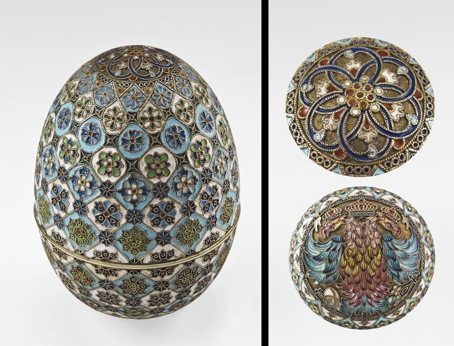 1: PAVEL OVCHINNIKOV RUSSIAN SILVER AND CLOISONNE EGG