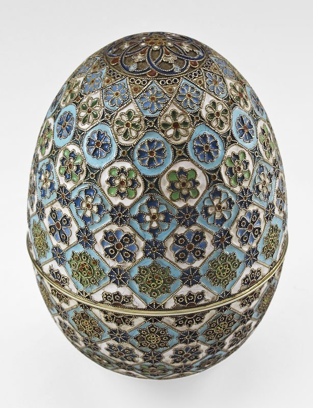 1: PAVEL OVCHINNIKOV RUSSIAN SILVER AND CLOISONNE EGG - 2