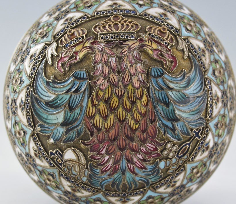 1: PAVEL OVCHINNIKOV RUSSIAN SILVER AND CLOISONNE EGG - 3