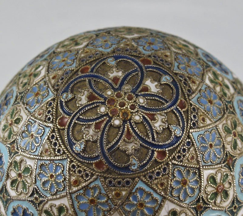 1: PAVEL OVCHINNIKOV RUSSIAN SILVER AND CLOISONNE EGG - 4