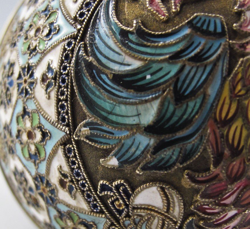 1: PAVEL OVCHINNIKOV RUSSIAN SILVER AND CLOISONNE EGG - 7