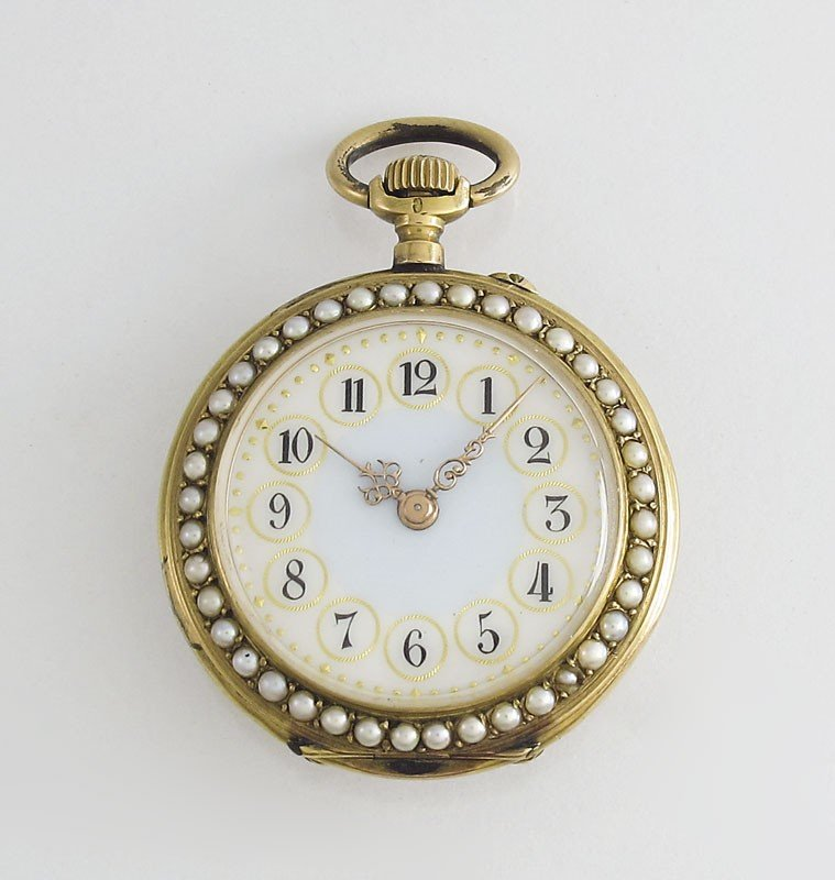 4: ANTIQUE 18K GOLD & SEED PEARL POCKET WATCH
