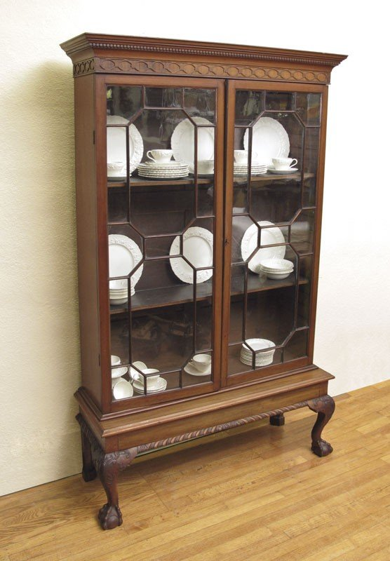 11: CHIPPENDALE REVIVAL BOOKCASE ON STAND CA. 1875
