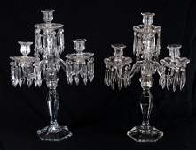 19: PAIR ELEGANT FOSTORIA GLASS CANDELABRA