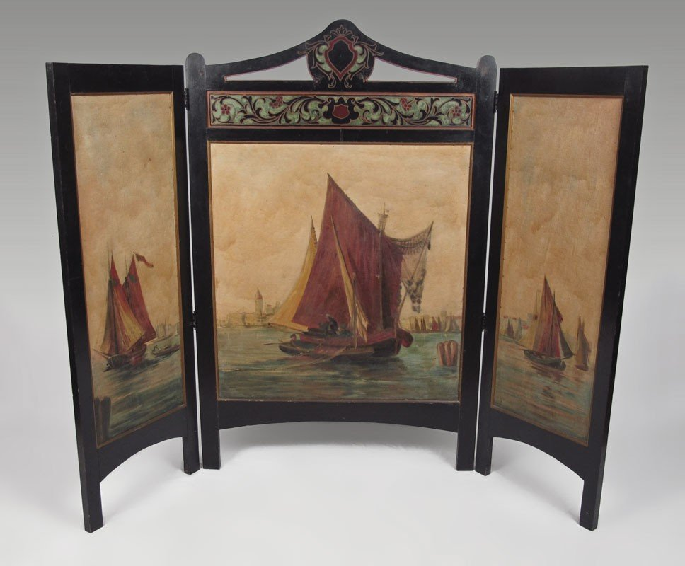20: 19TH C TRIPTYCH PAINTING 3 PANEL SCREEN