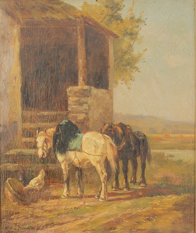 23: IMPORTANT PAINTING OF HORSES BY EUGENE FROMENTIN