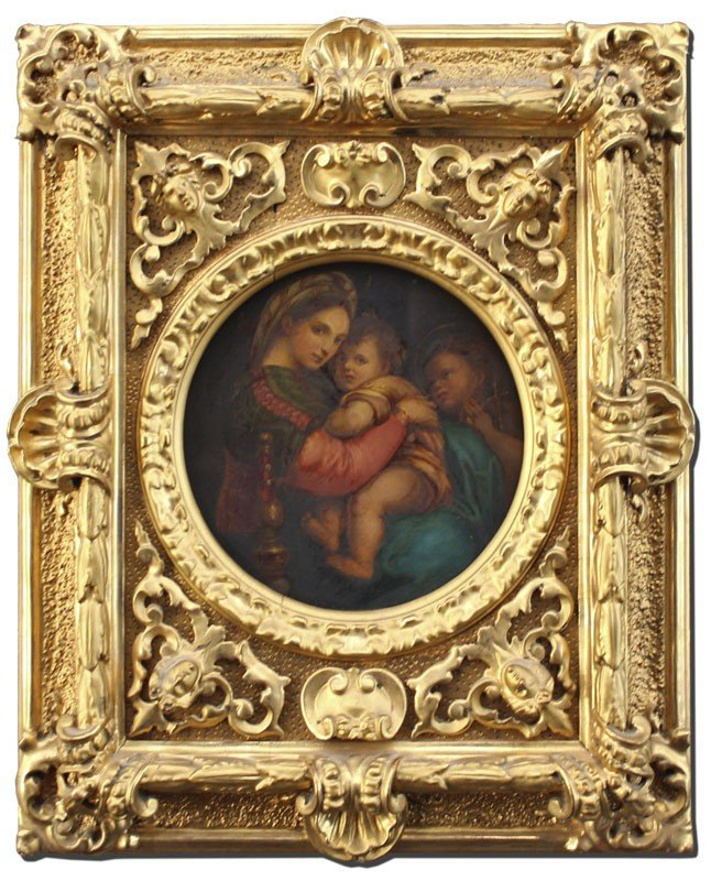 175: MADONNA AND CHILD PAINTING GREAT FRAME