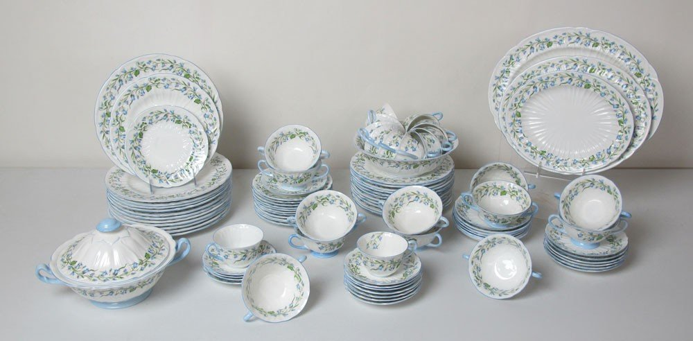 261: 89 pc SHELLEY BONE CHINA HAREBELL FOR 12