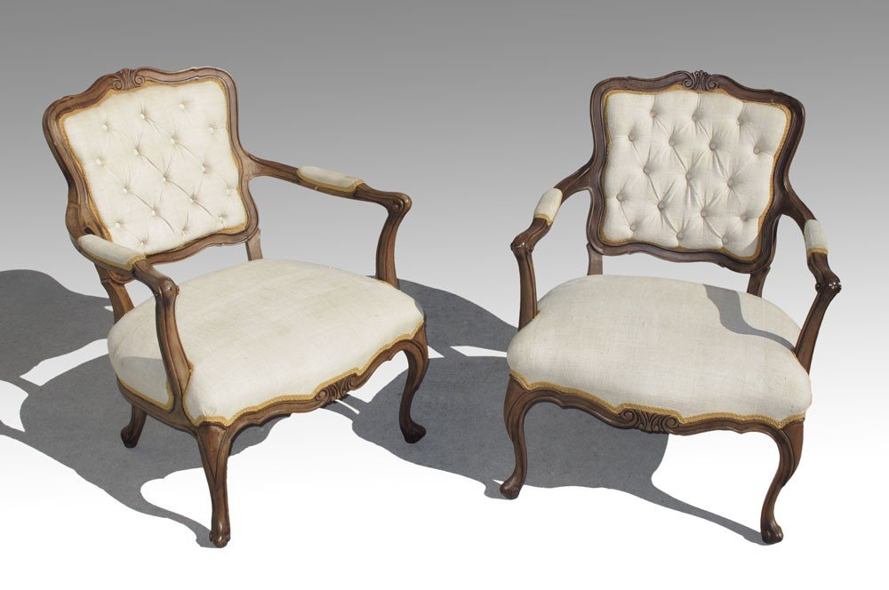 174: PAIR FRENCH FAUTEUIL CHAIRS