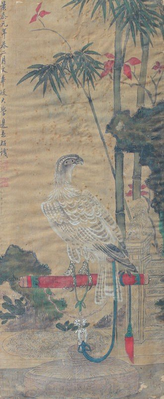 178: EARLY ORIENTAL PAINTING OF A FALCON
