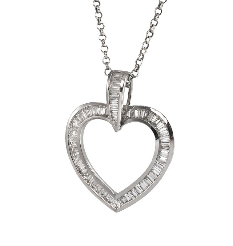 176A: 2 CTW DIAMOND HEART NECKLACE 14k GOLD