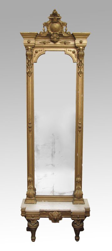 173: GOLD GILT PIER MIRROR ON MARBLE TOP BASE