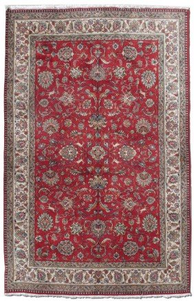 "MODERN HAND KNOTTED WOOL INDO PERSIAN RUG 7' 4""x11"