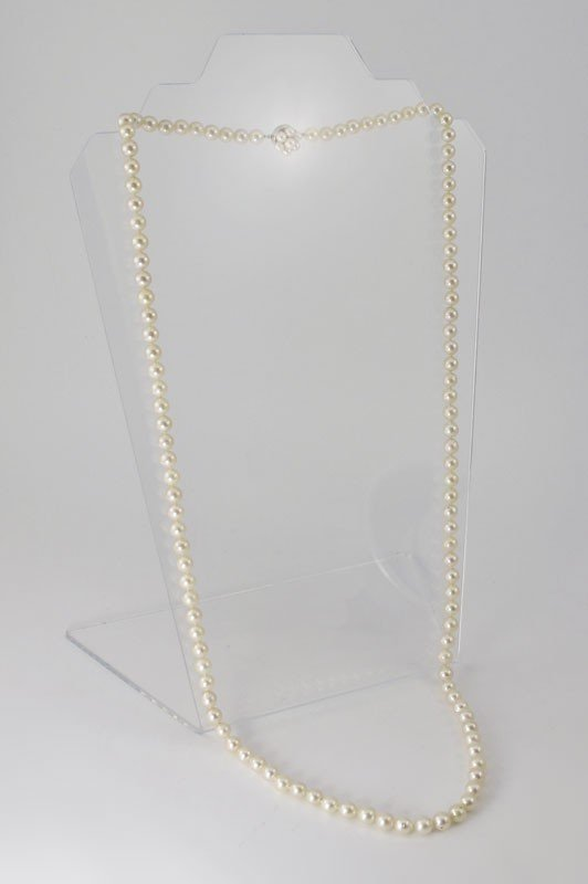 "184: 7 MM CULTERED PEARL 36"" NECKLACE 14K GOLD CLASP"